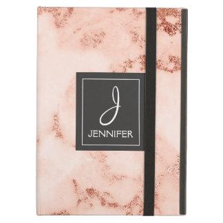 Protection iPad Air Monogramme élégant de marbre d'or de rose de rose