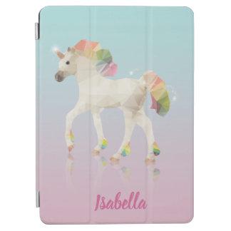 Protection iPad Air Nom coloré de polygone de licorne d'arc-en-ciel -