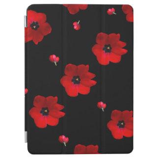 Protection iPad Air Ouvrez les tulipes rouges sur la couverture noire