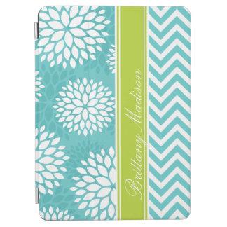 Protection iPad Air Turquoise et monogramme vert Chevron et floral