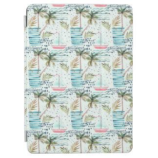 Protection iPad Air Voilier d'aquarelle avec le motif de palmier