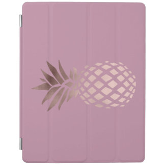 Protection iPad ananas tropical de feuille d'or rose claire