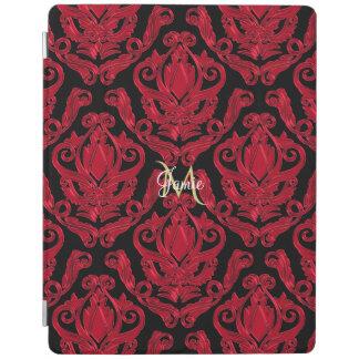 Protection iPad Copie rouge et noire élégante de damassé