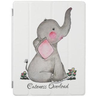 Protection iPad L'éléphant mignon de bébé d'aquarelle avec
