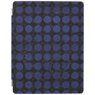 PROTECTION iPad MARBRE CIRCLES1 NOIR ET CUIR BLEU