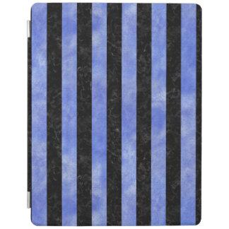 PROTECTION iPad MARBRE STRIPES1 NOIR ET AQUARELLE BLEUE