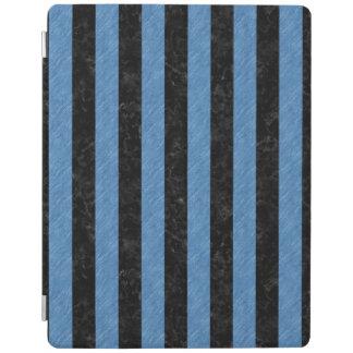 PROTECTION iPad MARBRE STRIPES1 NOIR ET CRAYON COLORÉ PAR BLEU