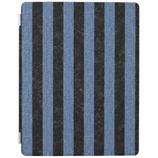 PROTECTION iPad MARBRE STRIPES1 NOIR ET DENIM BLEU