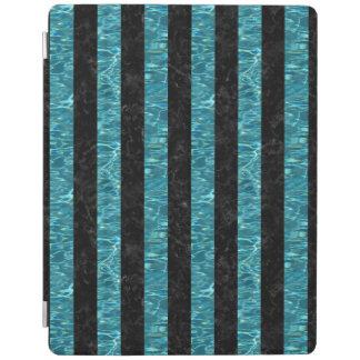 PROTECTION iPad MARBRE STRIPES1 NOIR ET L'EAU BLEU-VERT