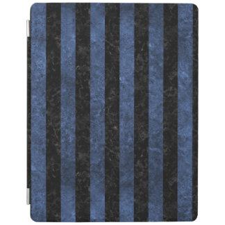 PROTECTION iPad MARBRE STRIPES1 NOIR ET PIERRE BLEUE