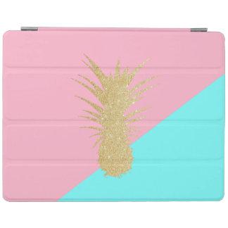 Protection iPad menthe élégante de rose d'ananas de scintillement