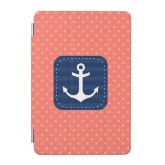 Protection iPad Mini Ancre de corail nautique de bleu marine de motif