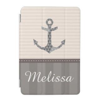 Protection iPad Mini Beige et nom nautiques de coutume d'ancre de Brown