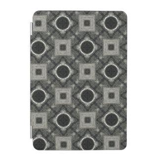 Protection iPad Mini Cercles abstraits et carrés noirs gris et de blanc