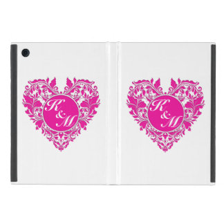 Protection iPad Mini Coeur magenta de HeartyParty et blanc rose de
