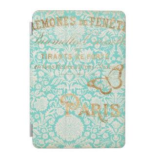 Protection iPad Mini Conception vintage d'or de Paris avec le papillon