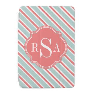 Protection iPad Mini Motif blanc bleu de corail de rayure de monogramme