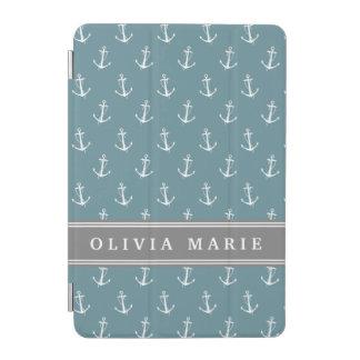 Protection iPad Mini Motif bleu nommé personnalisé d'ancre