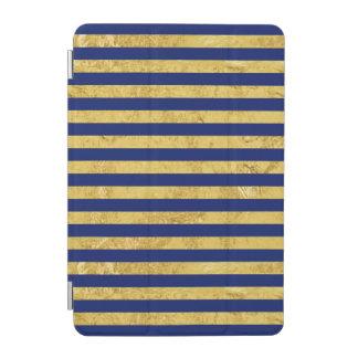 Protection iPad Mini Motif de feuille d'or élégante et de rayure bleue