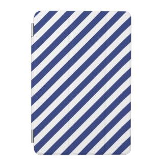 Protection iPad Mini Motif diagonal de bleu marine et blanc de rayures