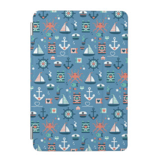 Protection iPad Mini Motif maritime de capitaine nautique bleu mignon