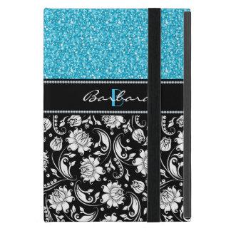 Protection iPad Mini Parties scintillantes bleues noires et blanches de
