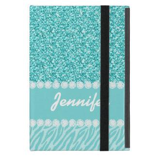 Protection iPad Mini Parties scintillantes Girly et turquoises, rayures
