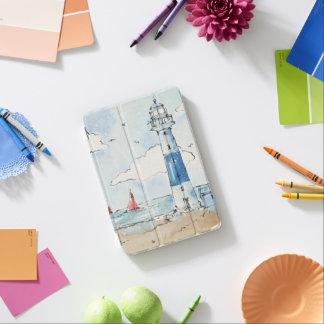 Protection iPad Mini Phare bleu et blanc