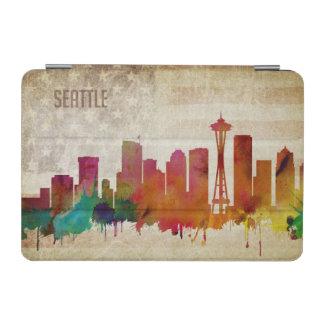 Protection iPad Mini Seattle, horizon de ville d'aquarelle de WA |