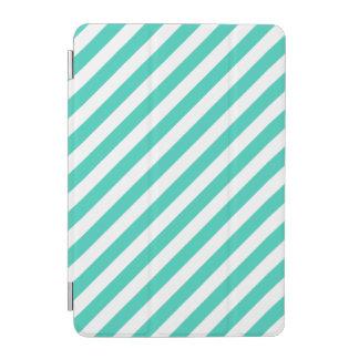 Protection iPad Mini Teal et motif diagonal blanc de rayures