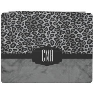 Protection iPad Monogramme animal du motif   de léopard gris et