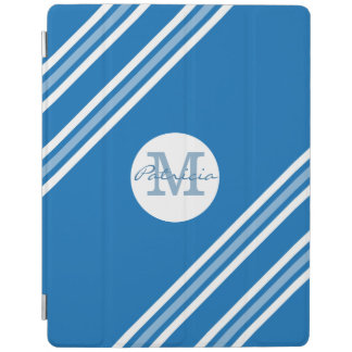 Protection iPad Monogramme blanc bleu de coutume de rayures