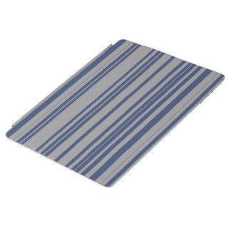 Protection iPad Motif bleu de rayure de tente de gris en acier