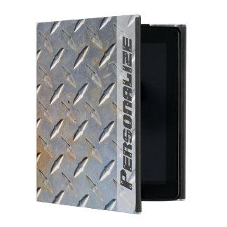 Protection iPad Motif en acier de diamant en métal gris et rouillé