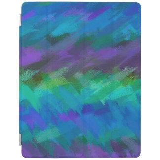 Protection iPad Motif pourpre bleu abstrait d'aquarelle