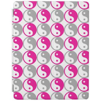 Protection iPad Motif rose et gris de cercles de yang de yin