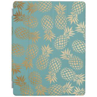 Protection iPad motif tropical d'ananas de feuille d'or élégante