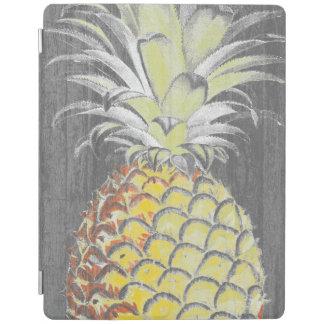 Protection iPad Pinneapple jaune tropical sur le gris
