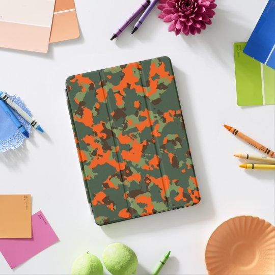 Protection iPad Pro Camo vert avec l'orange de flamme de sécurité