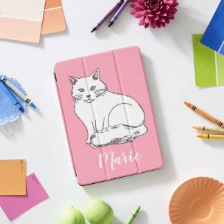 Protection iPad Pro Cover Couverture personnelle d'iPad de chat de rose
