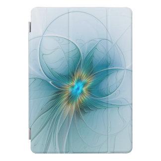 Protection iPad Pro Cover La peu de fleur bleue moderne de fractale d'or de