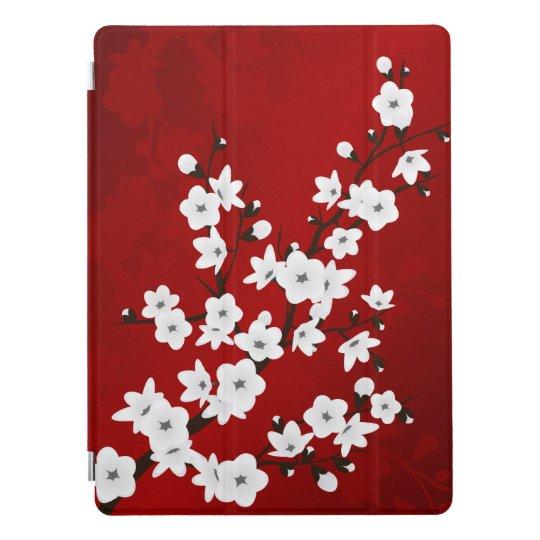 Protection iPad Pro Fleurs de cerisier noires et blanches rouges