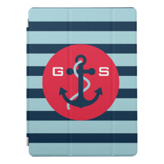 Protection iPad Pro Monogramme. Nautique. Ancre