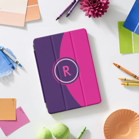 Protection iPad Pro Monogramme rose et pourpre