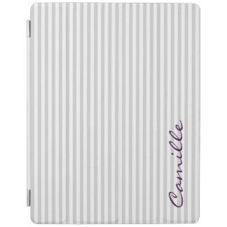 Protection iPad rayures blanches et grises personnalisées de nom