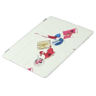 Protection iPad Rouge, bleu, mini ornements d'or sur pâle - XMAS2