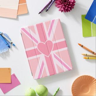 Protection iPad Union Jack/roses et coeur de drapeau (verticaux)