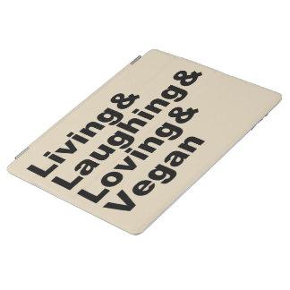 Protection iPad Vie et rire et aimer et végétalien (noir)
