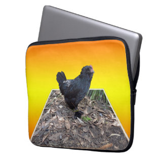 Protection Pour Ordinateur Portable Art dimensionnel de coq pelucheux noir,