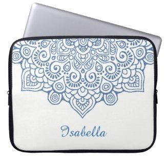 Protection Pour Ordinateur Portable blanc complexe vintage métallique bleu de mandala